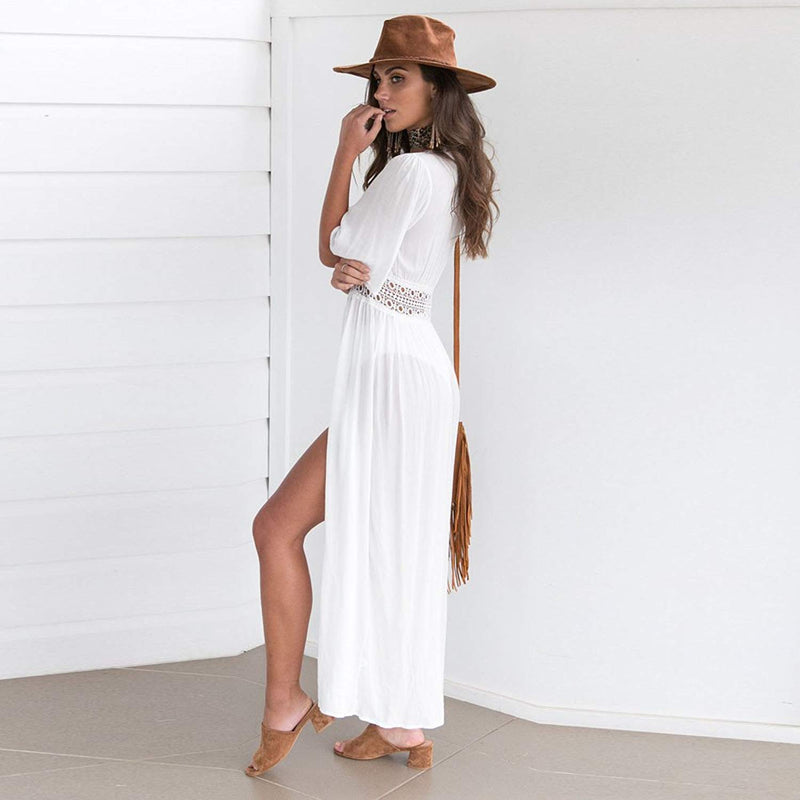 Boho Style Crocheting Detail Open Front Maxi Cover Up