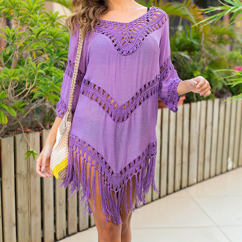 Boho Tassel Half Sleeve Crochet Cover Up