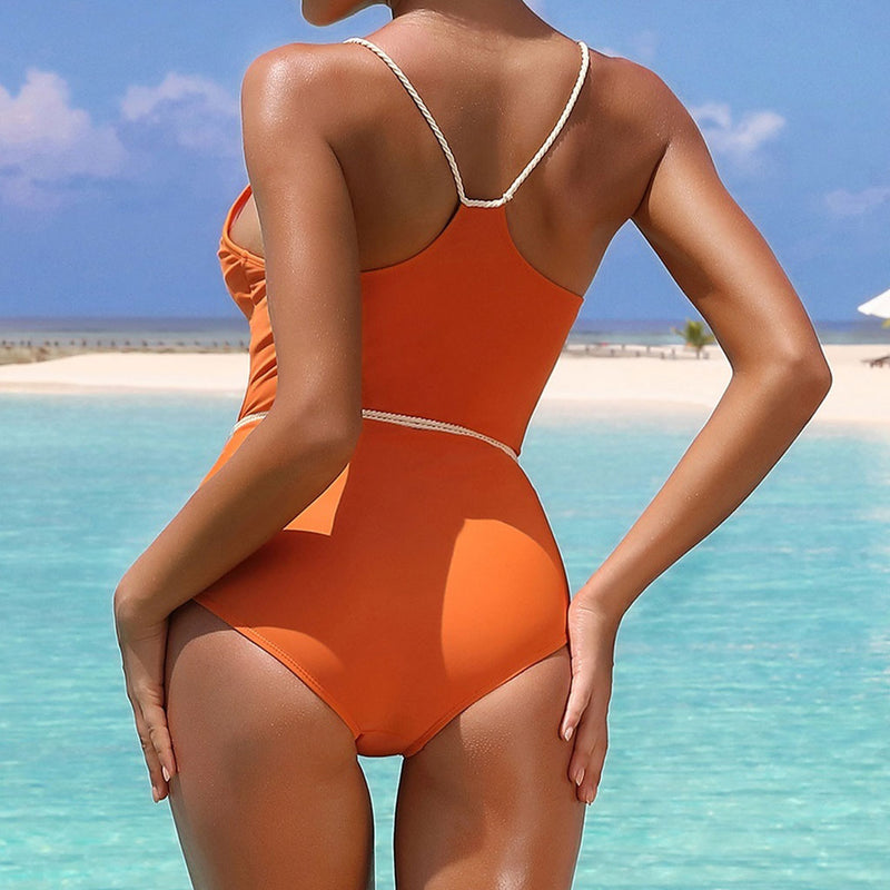 Braided Strap Racerback Braizlian One Piece Swimsuit