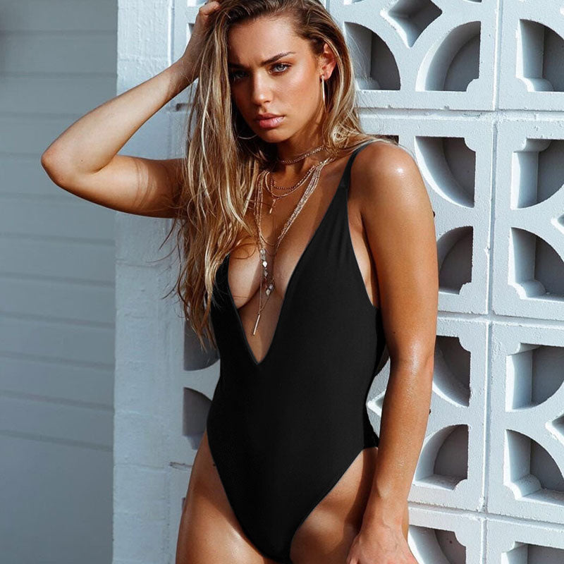 Brazilian Styling Low Back High Cut Deep V One Piece Swimsuit