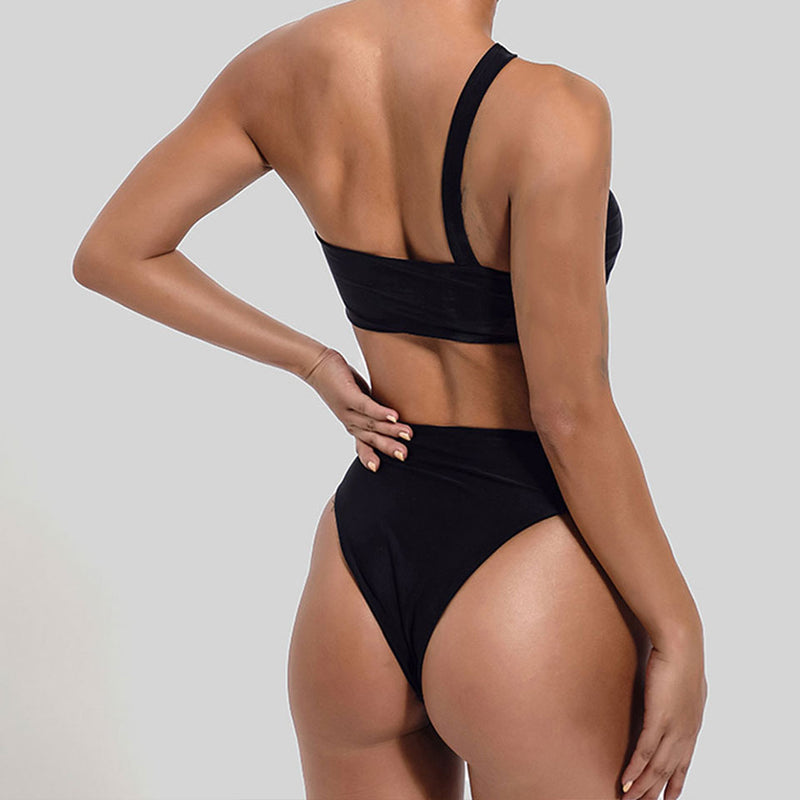 Buckle Belt Cutout One Shoulder Bandeau Bikini Two Piece Swimsuit