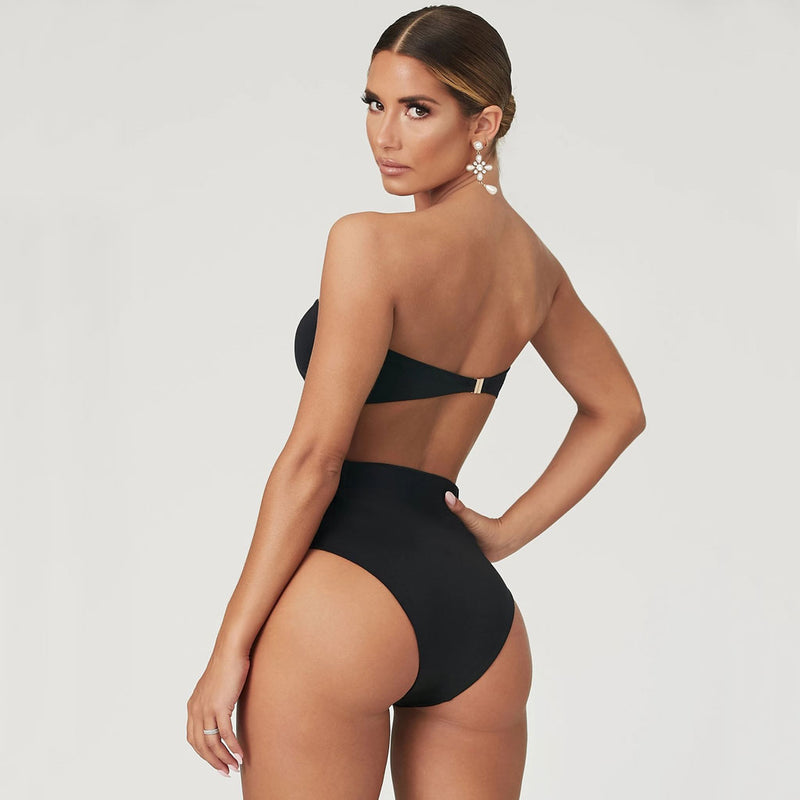 Buckle Belted High Waist Bandeau Bikini Two Piece Swimsuit