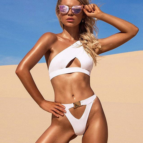 Buckle High Cut Cutout Front One Shoulder Bikini Two Piece Swimsuit