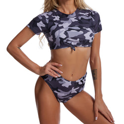 Camo Print Short Sleeve Knotted Crop Bikini Two Piece Swimsuit
