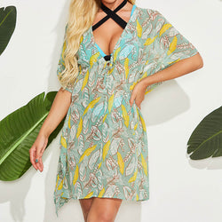 Casual Printed Batwing Sleeve Drawstring Front Cover Up Dress