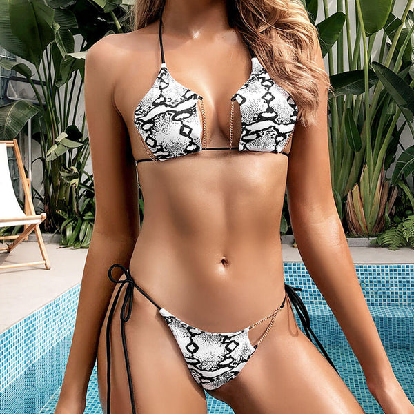 Chain String Snake Printed Sliding Star Bikini Two Piece Swimsuit