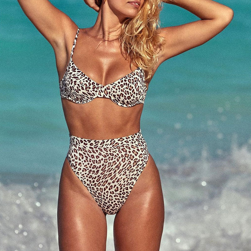 Cheetah High Cut High Waist Underwire Bikini Two Piece Swimsuit
