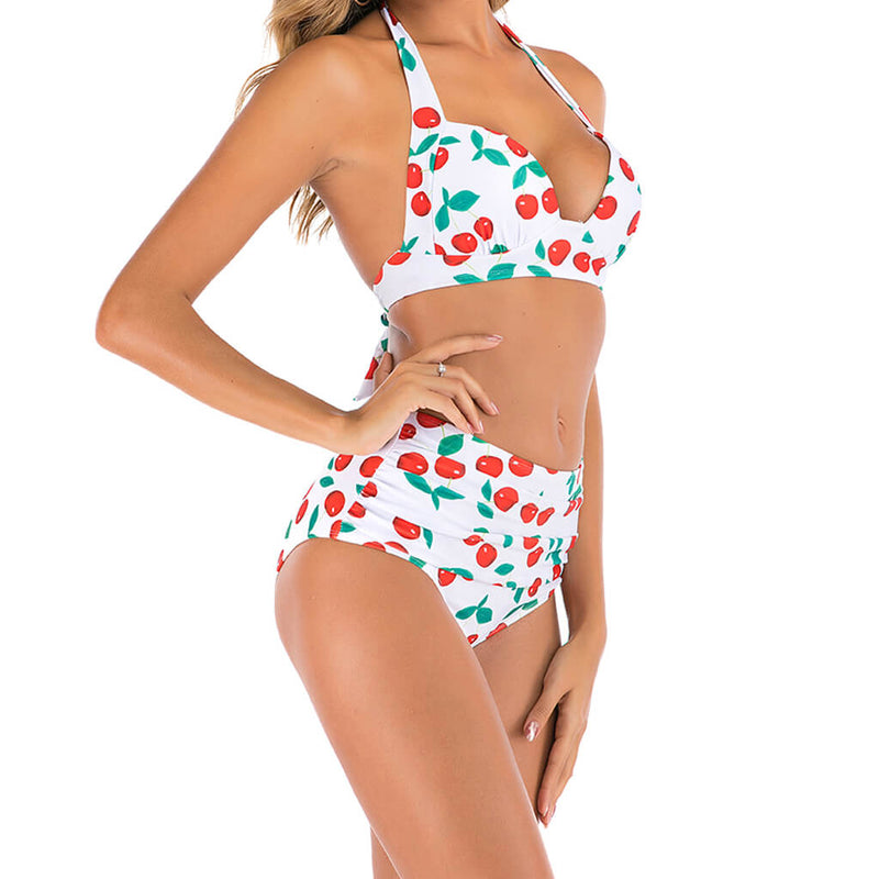 Cherry Print High Waist Ruched Halter Bikini Two Piece Swimsuit