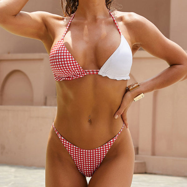 Chic Gingham String Slide Triangle Bikini Two Piece Swimsuit