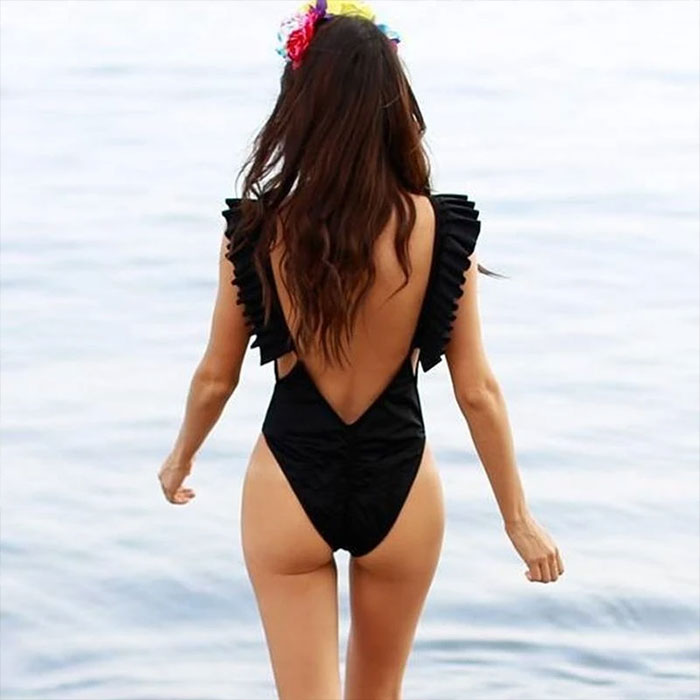 Chic Low Back Ruffle One Piece Swimsuit