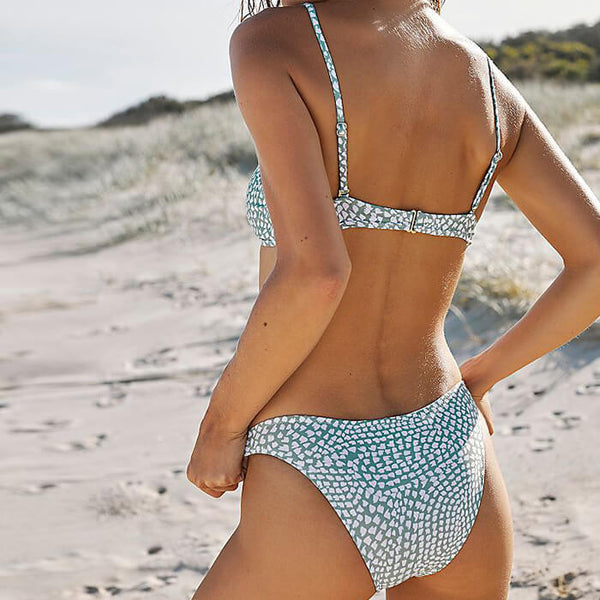 Chic Spots Printed Triangle Bikini Two Piece Swimsuit