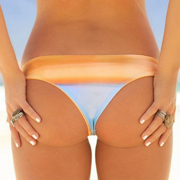 Color Gradient Low Rise Brazilian Bikini Bottom