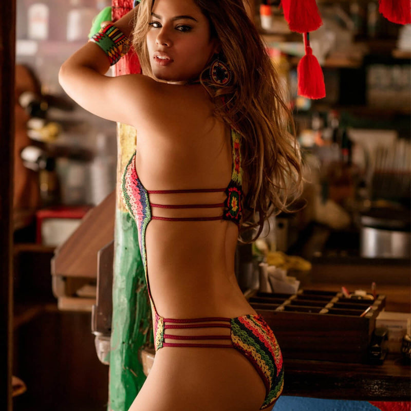 Colorful Printed Strappy Open Back Monokini One Piece Swimsuit