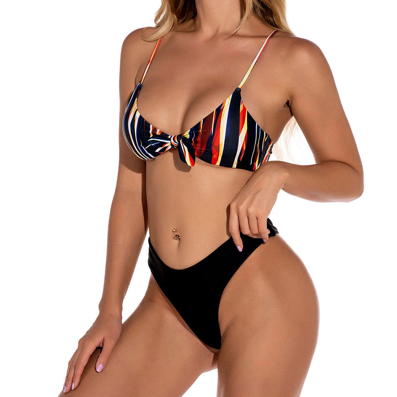 Colorful Striped Knotted Front High Cut Bikini Two Piece Swimsuit