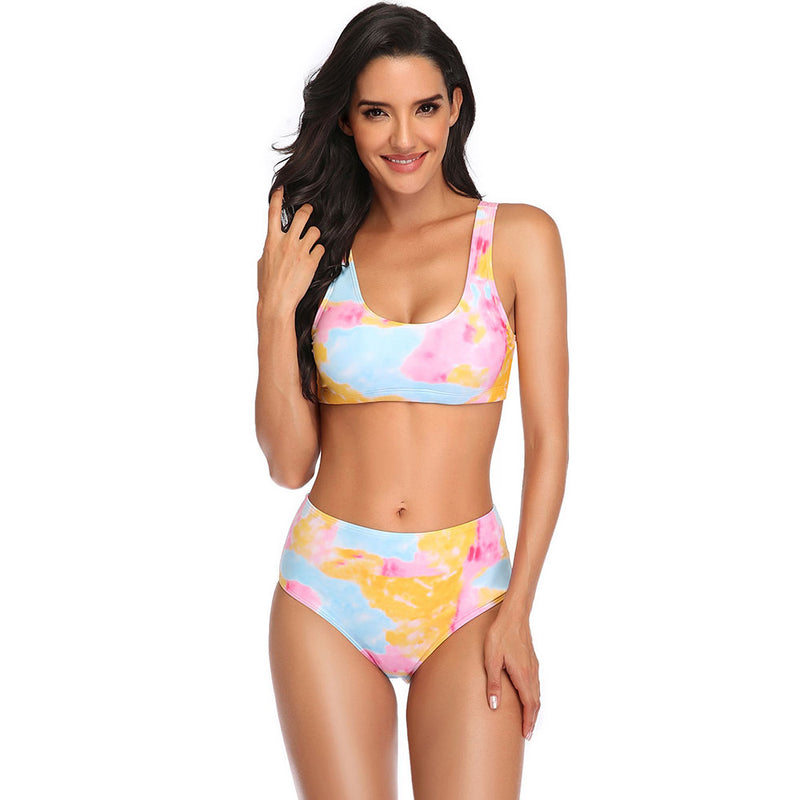 Colorful Tie Dye High Waist Bikini Two Piece Swimsuit