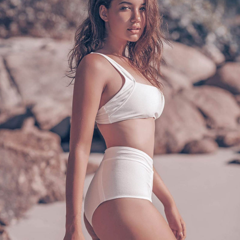 Comfy Ribbed High Waist Bikini Two Piece Swimsuit