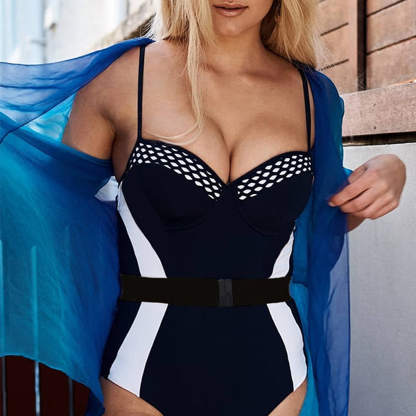 Contrast Color Belt Sweetheart Neckline Underwire One Piece Swimsuit