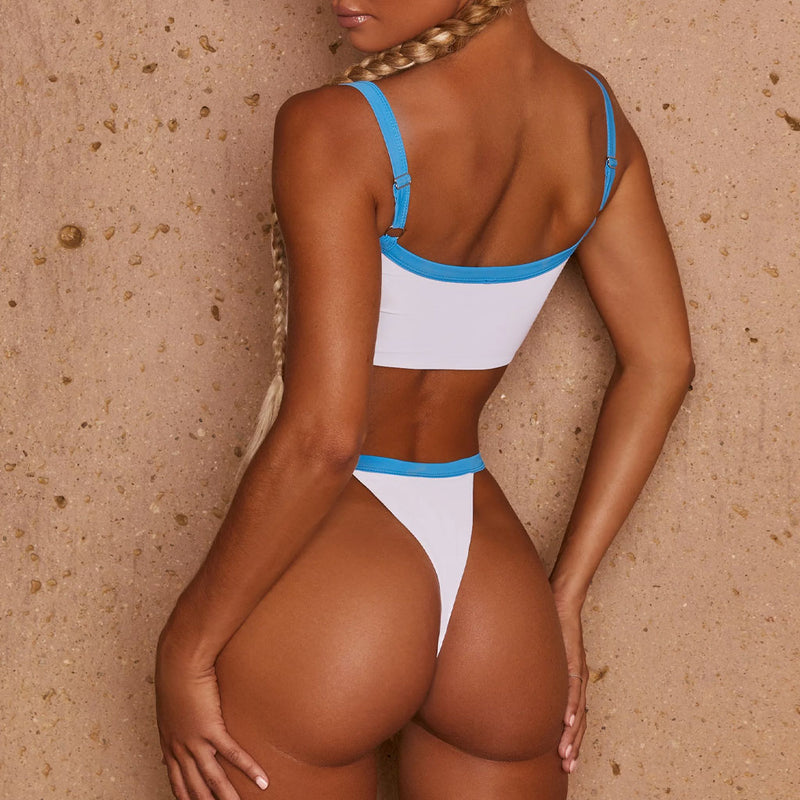 Contrast Color Binding High Cut Bikini Two Piece Swimsuit