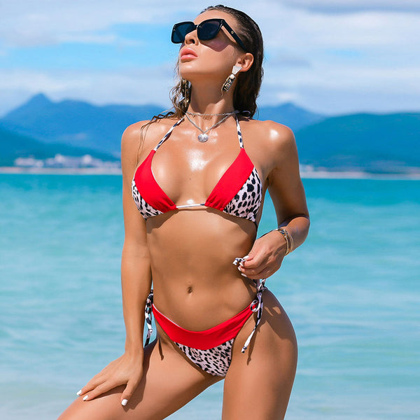 Contrast Leopard Printed Tie String Slide Triangle Bikini Two Piece Swimsuit