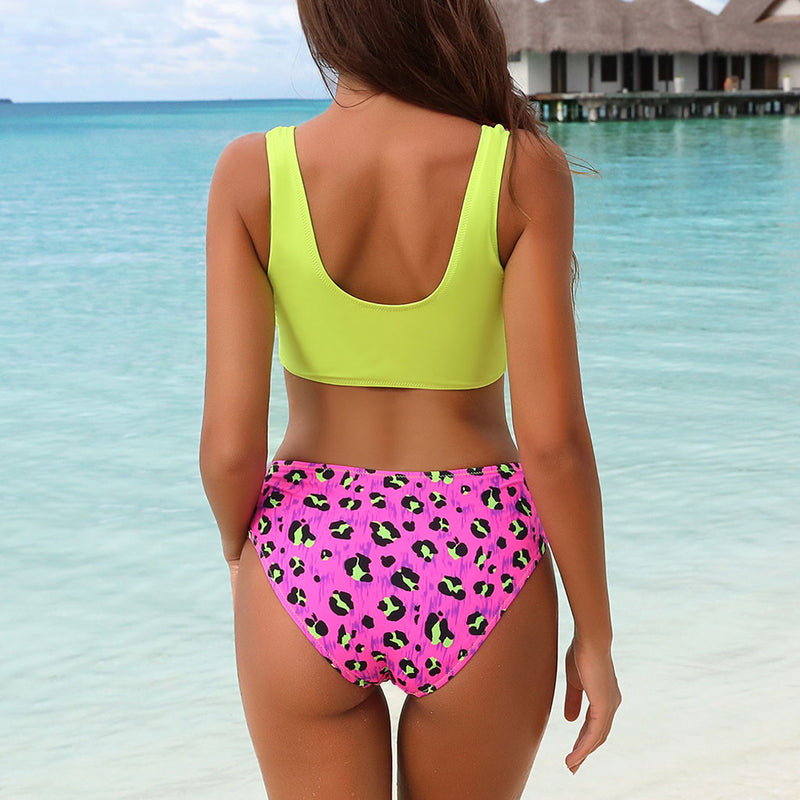 Contrast Leopard Printed Zipper Front Crop Bikini Two Piece Swimsuit