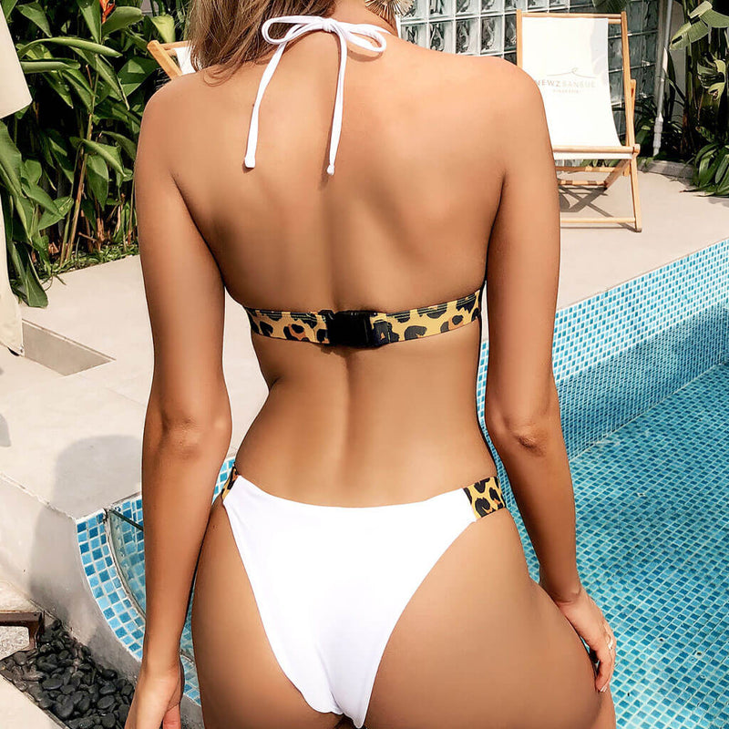 Contrast Leopard Twist Cutout Halter Bikini Two Piece Swimsuit