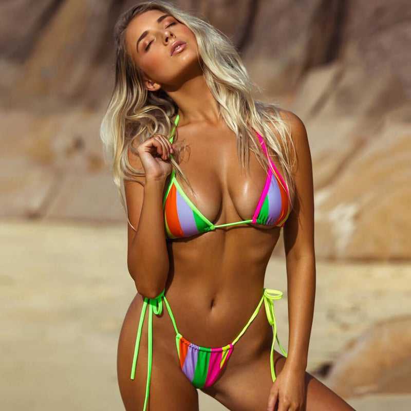Contrast Tie String Slide Triangle Bikini Two Piece Swimsuit