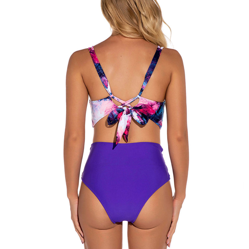 Crisscross Strappy High Waist Tie Dye Printed Bikini Two Piece Swimsuit