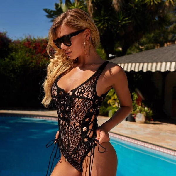 Cross Strappy Lacework One Piece Swimsuit