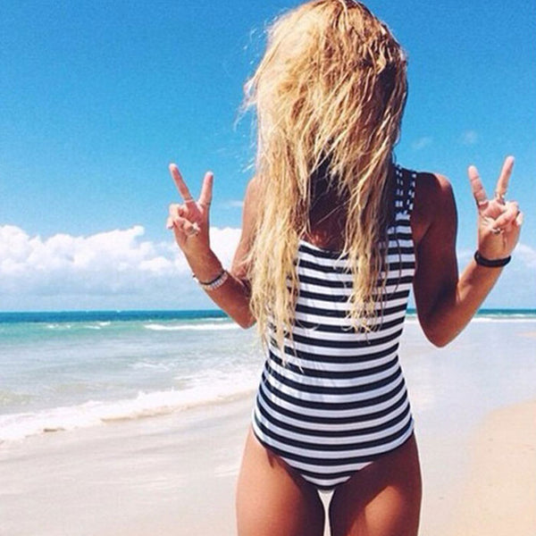 Cross Strappy Low Back Striped One piece Swimsuit