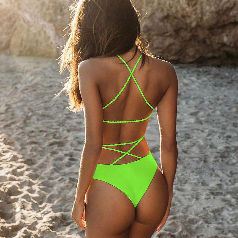 Cross Strappy Open Back One Piece Swimsuit