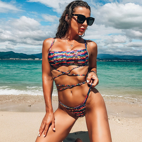 Cross Strappy Textured Square Neck Bandeau Bikini Two Piece Swimsuit