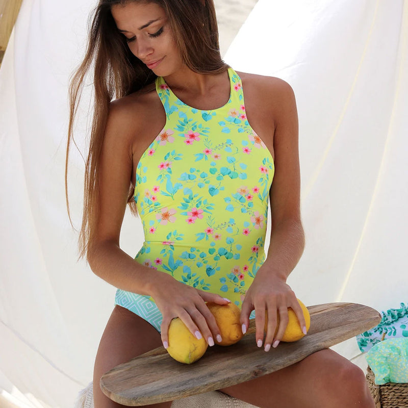Crossed Low Back High Cut Printed High Neck One Piece Swimsuit