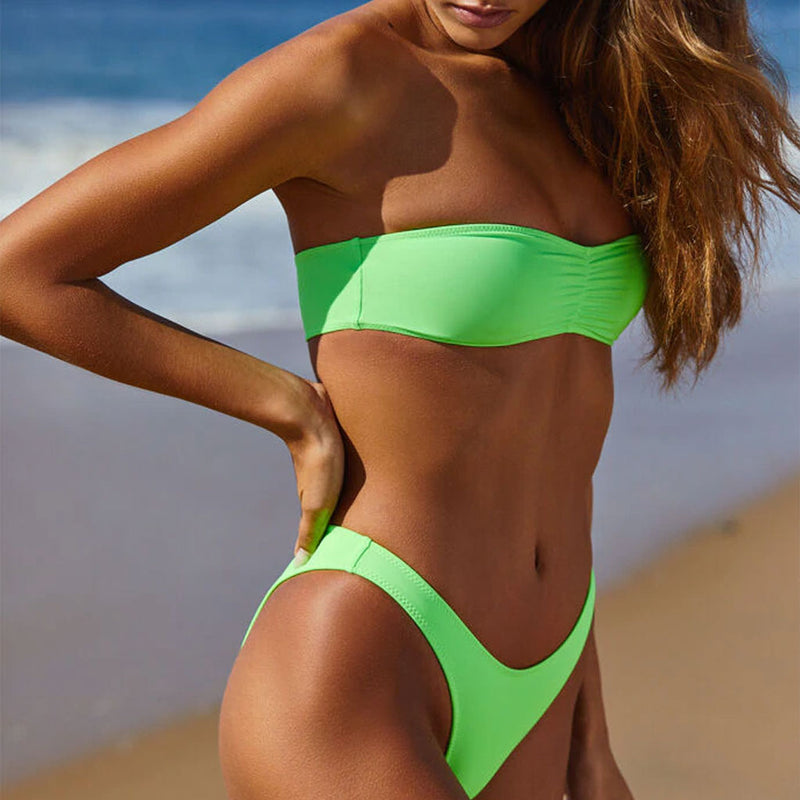 Cute High Cut Ruched Front Bandeau Bikini Two Piece Swimsuit