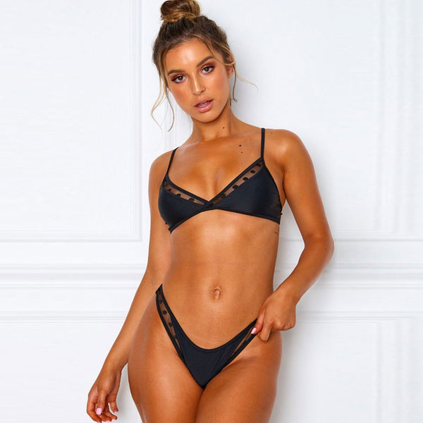 Cute Mesh Panel High Cut Brazilian Bikini Two Piece Swimsuit