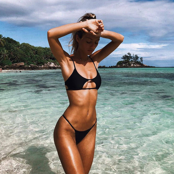Cutout Details String Bikini Two Piece Swimsuit