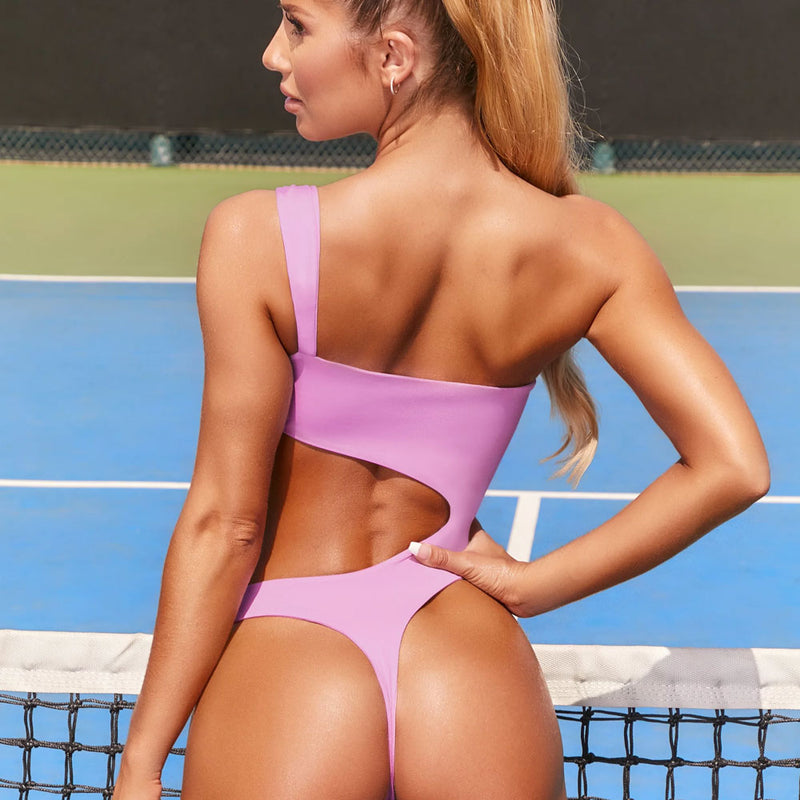 Cutout One Side One Shoulder High Cut Thong One Piece Swimsuit