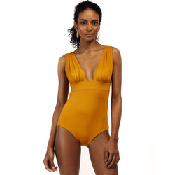 Deep V Bowknot Back One Piece Swimsuit