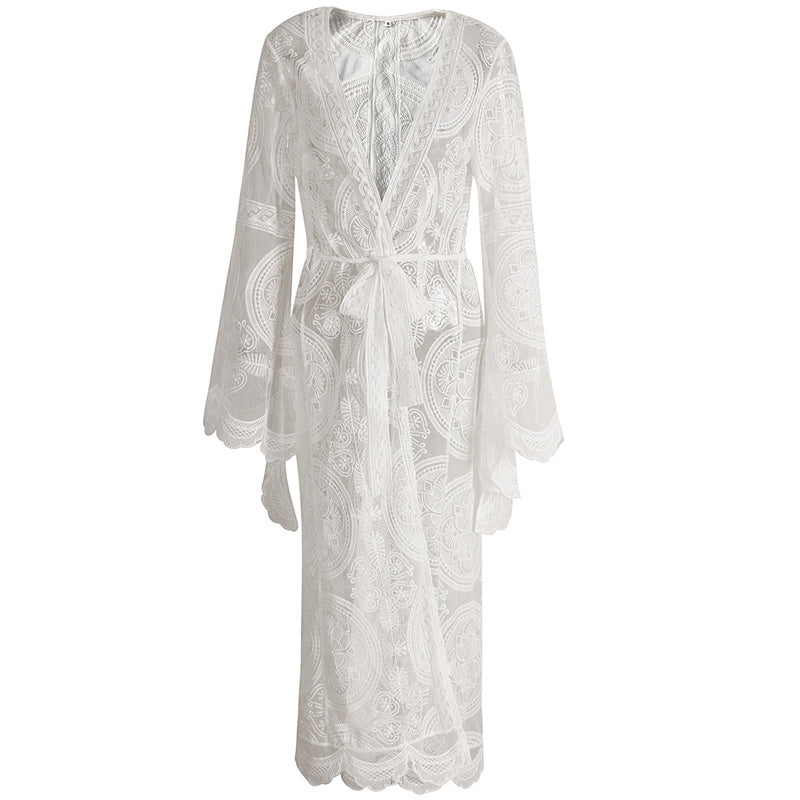 Delicate Sheer Lace Open Front Maxi Cover Up