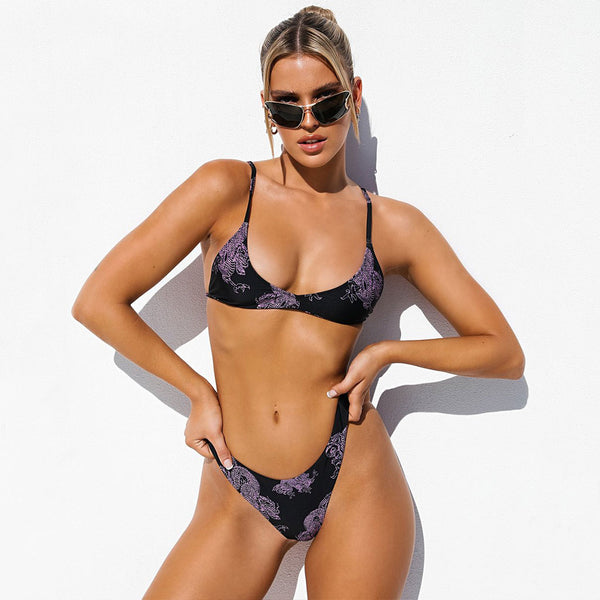 Dragon Printed High Cut Thong Bikini Two Piece Swimsuit