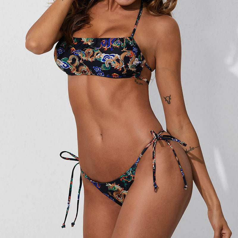 Ethnic Printed Strappy Tie String Bandeau Bikini Two Piece Swimsuit