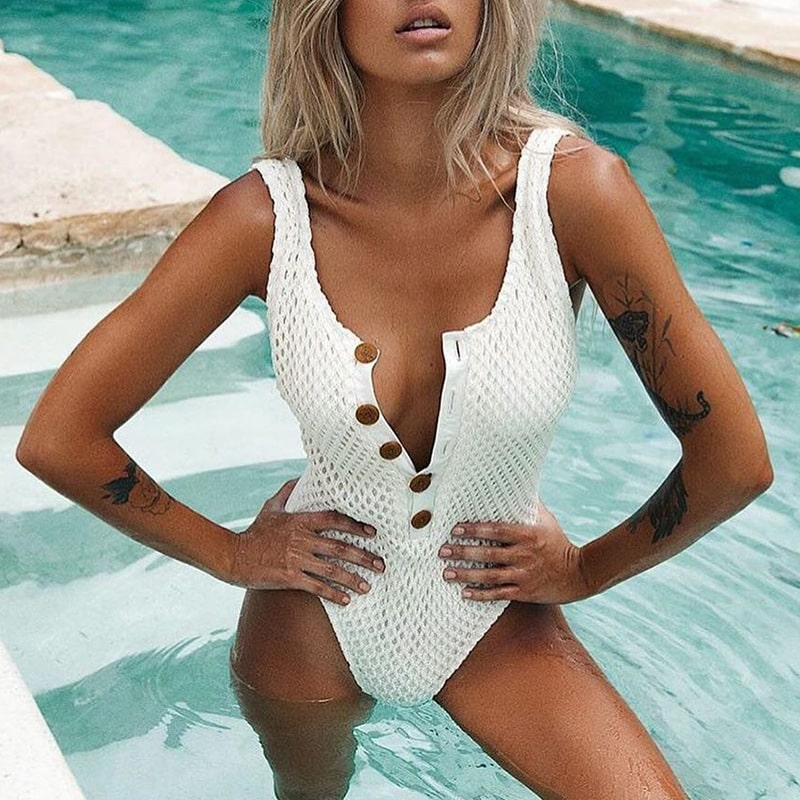 Eyelet Button Front High Cut One Piece Swimsuit