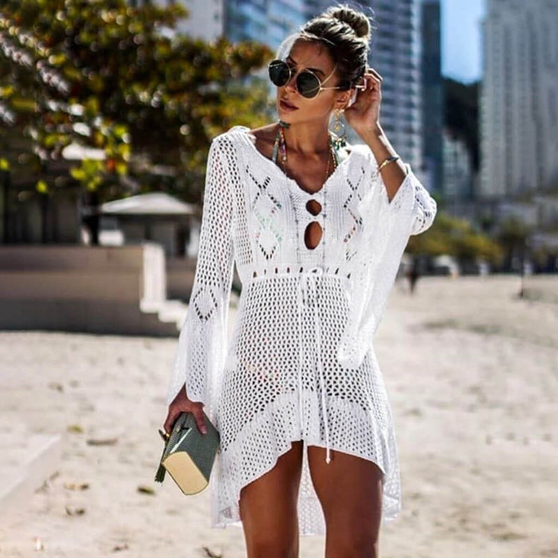 Flare Sleeve Open Knit Crocheting Coverup Dress