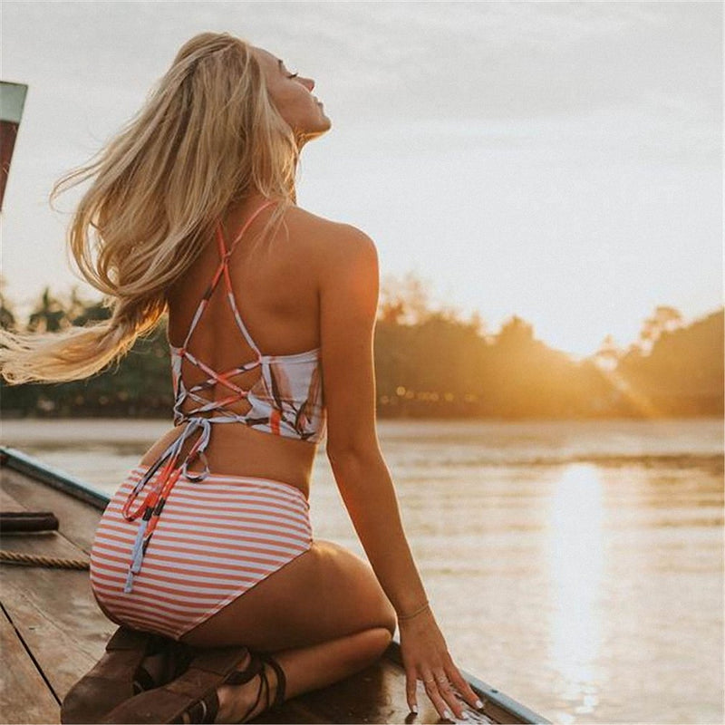 Floral Lace Up Back High Neck Crop Bikini Two Piece Swimsuit
