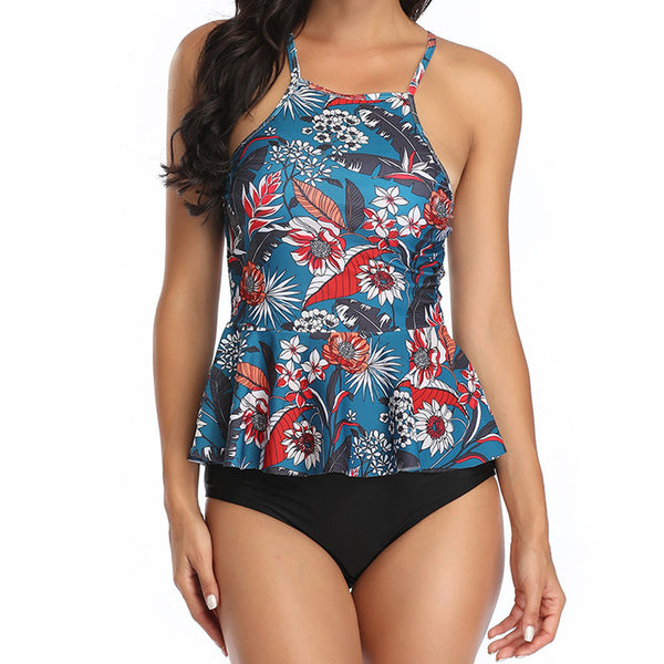 Floral Printed Cross Back High Neck Peplum One Piece Swimsuit