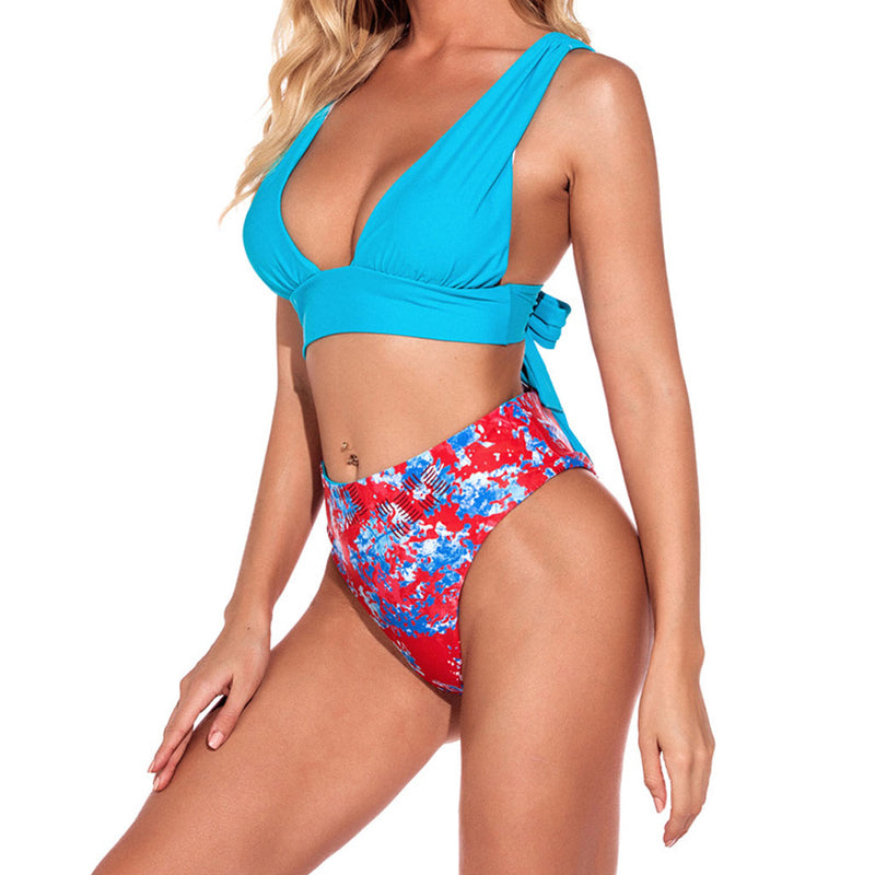 Floral Printed Deep V Triangle Bikini Two Piece Swimsuit