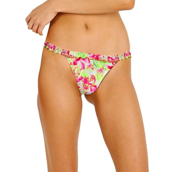 Floral Printed Frilled Waistband Bikini Bottom