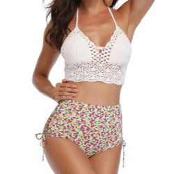 Floral Printed High Waist Crochet Halter Triangle Bikini Two Piece Swimsuit
