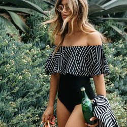 Geometric Ruffle Off Shoulder One Piece Swimsuit