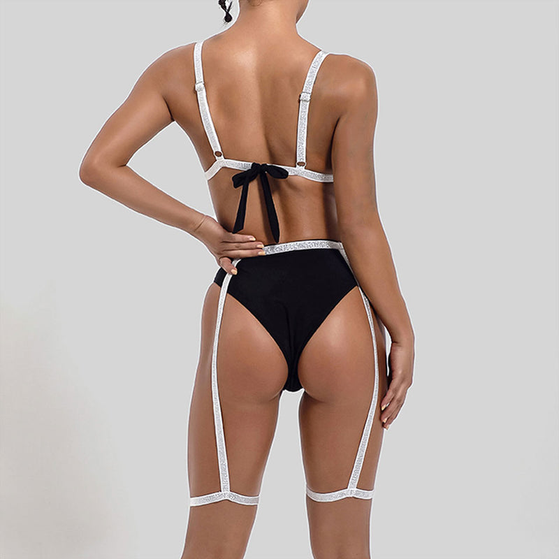Glittering High Waist Slide Triangle Bikini Two Piece Swimsuit