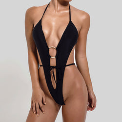 High Cut Low Back Metal Ring V Neck Monokini One Piece Swimsuit